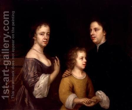 Self Portrait with Husband and Son c.1659-60 by Mary Beale - Reproduction Oil Painting