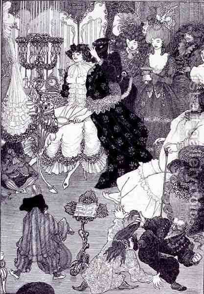 Illustration, probably from The Battle of the Beaux and the Belles  c.1896 by Aubrey Vincent Beardsley - Reproduction Oil Painting
