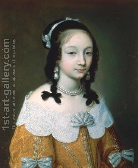 Portrait of a Lady Wearing a Yellow Silk Dress 1646 by Charles Beaubrun - Reproduction Oil Painting