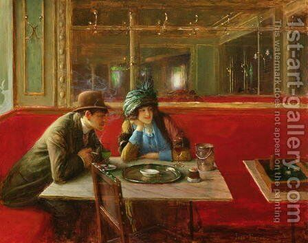 At the Cafe by Jean-Georges Beraud - Reproduction Oil Painting