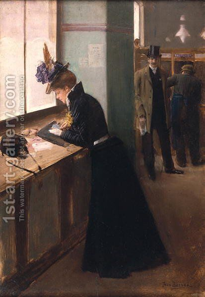 At the Telegraph by Jean-Georges Beraud - Reproduction Oil Painting