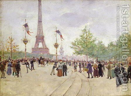 Entrance to the Exposition Universelle 1889 by Jean-Georges Beraud - Reproduction Oil Painting