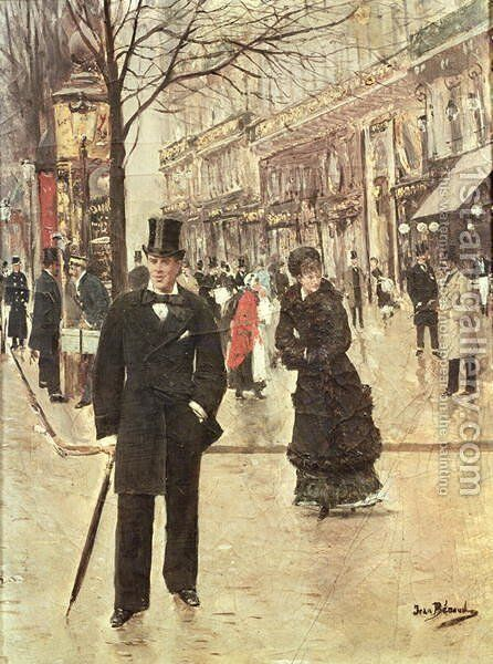 On the Boulevard by Jean-Georges Beraud - Reproduction Oil Painting