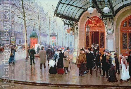 Outside the Vaudeville Theatre  Paris by Jean-Georges Beraud - Reproduction Oil Painting