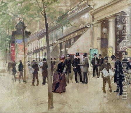 The Boulevard Montmartre and the Theatre des Varietes  c.1886 by Jean-Georges Beraud - Reproduction Oil Painting