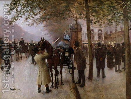 The Boulevards, Evening in Front of the Cafe Napolitain by Jean-Georges Beraud - Reproduction Oil Painting