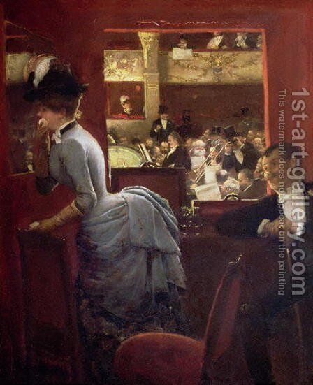 The Box by the Stalls  c.1883 by Jean-Georges Beraud - Reproduction Oil Painting