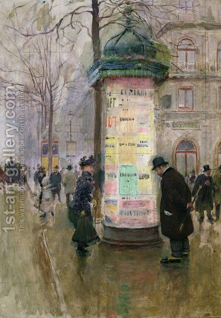 The Colonne Morris c.1885 by Jean-Georges Beraud - Reproduction Oil Painting