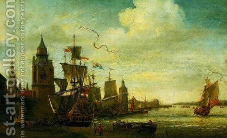 A capriccio view of the port of Antwerp 1673 by Jan Karel Donatus van Beecq - Reproduction Oil Painting