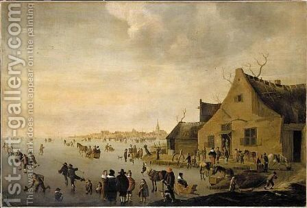 Skaters on a frozen lake at the edge of a town 1653 by Cornelis Beelt - Reproduction Oil Painting