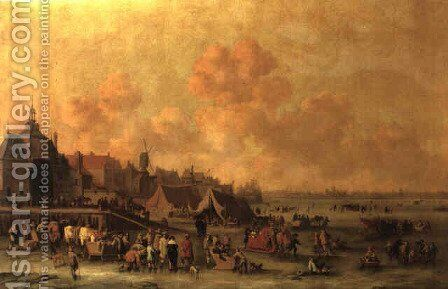 Winter landscape with figures skating on a frozen Dutch river by Cornelis Beelt - Reproduction Oil Painting