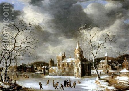 A castle on a frozen lake with skaters by Abraham Beerstraten - Reproduction Oil Painting