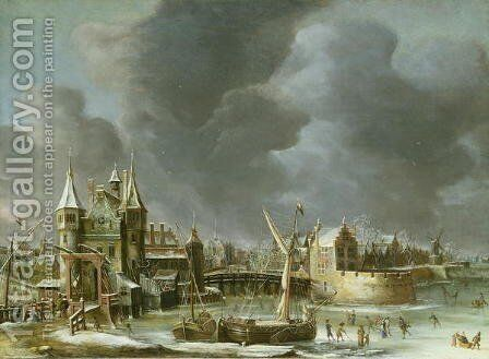 A View of the Regulierspoort, Amsterdam, in winter by Abraham Beerstraten - Reproduction Oil Painting