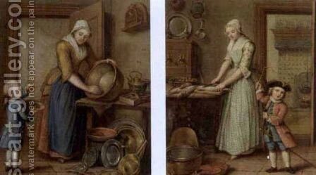 A woman cleaning pots in an interior with a boy eating cherries (and) A woman preparing fish in a kitchen and a child playing,  1769 by Abraham Hendrick van Beesten - Reproduction Oil Painting