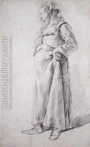 A Standing Peasant Woman by Cornelis (Pietersz.) Bega - Reproduction Oil Painting