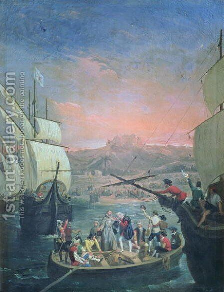 Departure of the Santa Maria, the Pinta and the Nina from Palos in 1492 by Antonio Cabral Bejarano - Reproduction Oil Painting