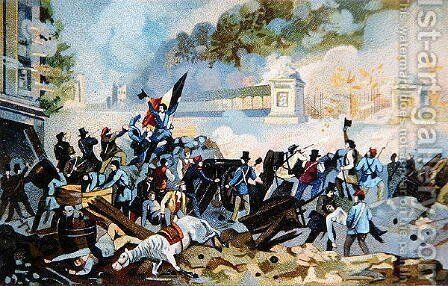 Wallonian volunteers attacking on 23rd October 1830 during the Dutch invasion of Belgium to try to reassert control by Anonymous Artist - Reproduction Oil Painting