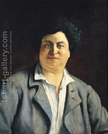 Portrait of Alexandre Dumas pere by Charles-Alphonse-Paul Bellay - Reproduction Oil Painting