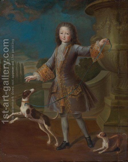Portrait of a young gentleman in a lilac coat with gold embroidery and a lace cravat, with two dogs in a garden by Alexis-Simon Belle - Reproduction Oil Painting