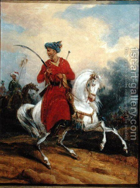 An Ottoman on Horseback by Charles Bellier - Reproduction Oil Painting