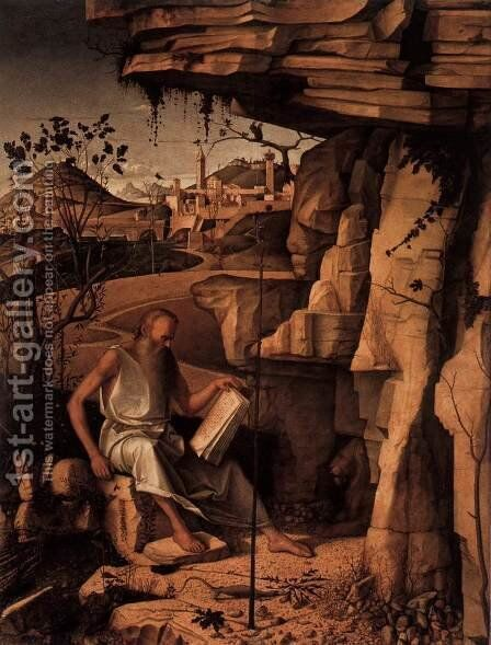 St. Jerome in the Desert 1480-87 by Giovanni Bellini - Reproduction Oil Painting