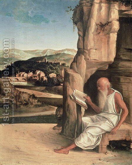 St. Jerome Reading in a Landscape by Giovanni Bellini - Reproduction Oil Painting
