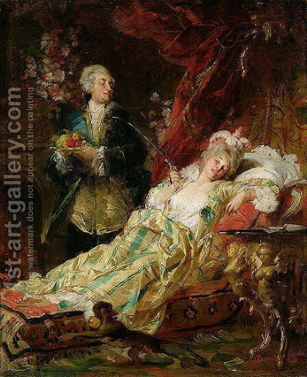 Louis XV and Madame Dubarry by Gyula Benczur - Reproduction Oil Painting