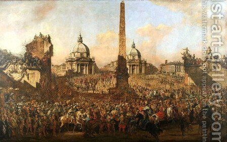 Entry into Rome of Jerzy Ossolinski by Bernardo Bellotto (Canaletto) - Reproduction Oil Painting