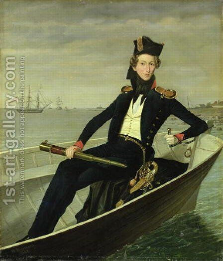 Portrait of a Young Danish Naval Officer, 1841 by Bernhard Axel Bendixen - Reproduction Oil Painting
