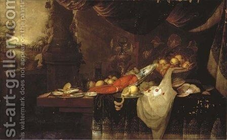 A lobster on a blue and white plate, with a partly-peeled lemon on a pewter plate, oysters, grapes and peaches by Andries Benedetti - Reproduction Oil Painting