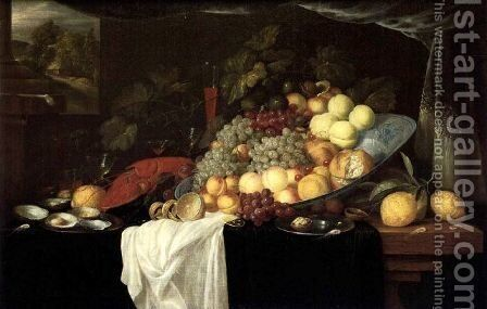 Elaborate Still life of fruit with a lobster and oysters, a landscape beyond by Andries Benedetti - Reproduction Oil Painting