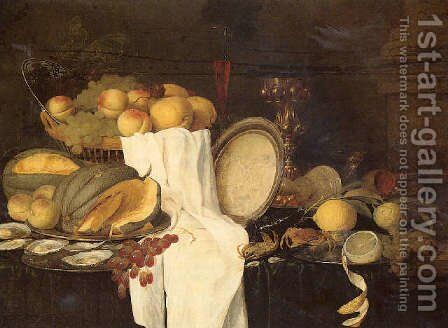 Still life of melons, grapes, oysters, crab and lemons on pewter plates, with a basket of fruit, wineglasses and a gilt cup by Andries Benedetti - Reproduction Oil Painting
