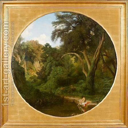 A bather in a forest 1846 by Jean Achille Benouville - Reproduction Oil Painting