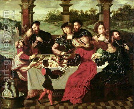 The Concert after the Meal by Ambrosius Benson - Reproduction Oil Painting