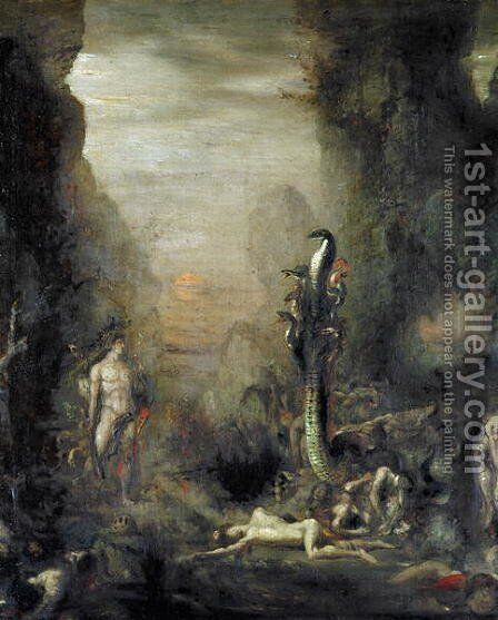 Hercules and the Lernaean Hydra, after Gustave Moreau, c.1876 by Narcisse Berchere - Reproduction Oil Painting