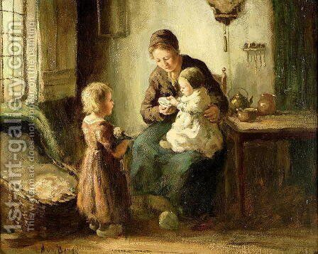 Playing with baby by Adolf-Julius Berg - Reproduction Oil Painting