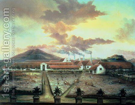 A Sugar Plantation in the South of Trinidad, c.1850 by C. Bauer - Reproduction Oil Painting