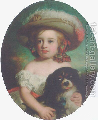 Portrait of a young girl, in a white dress and a plumed hat, with a spaniel 1870 by Charles Baxter - Reproduction Oil Painting