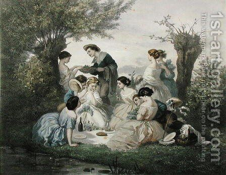 Breakfast in the Spring by A. de Beaumont - Reproduction Oil Painting