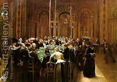The casino at Monte Carlo (Rien ne va plus !) 1890 by Jean-Georges Beraud - Reproduction Oil Painting