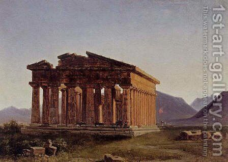 A view of the Temple of Neptune at Paestum by Antoine-Felix Boisselier - Reproduction Oil Painting