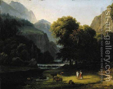 A wooded river landscape with Apollo and Mercury by Antoine-Felix Boisselier - Reproduction Oil Painting