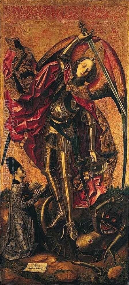 St. Michael and the Dragon by Bartolome Bermejo - Reproduction Oil Painting