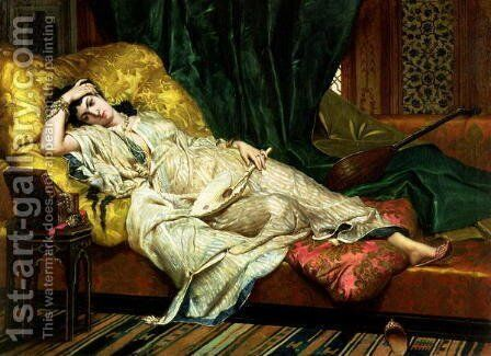Odalisque with a lute, 1876 by Hippolyte-Dominique Berteaux - Reproduction Oil Painting