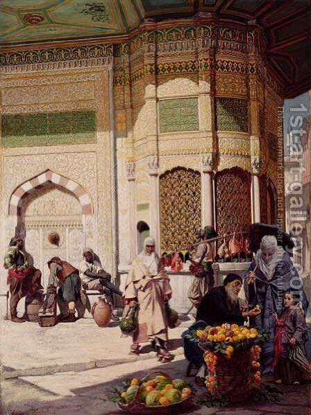 Street Merchant in Istanbul, 1883 by Hippolyte-Dominique Berteaux - Reproduction Oil Painting
