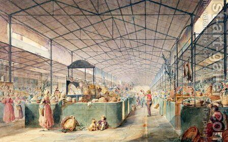 Interior of Les Halles, 1835 by Max Berthelin - Reproduction Oil Painting