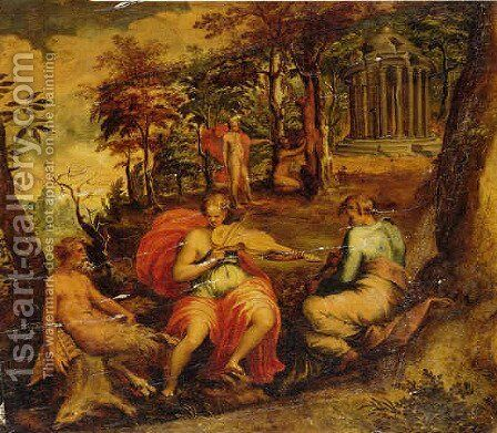 A landscape with scenes form the legend of Apollo and Marsyas by Jacopo Bertoia - Reproduction Oil Painting