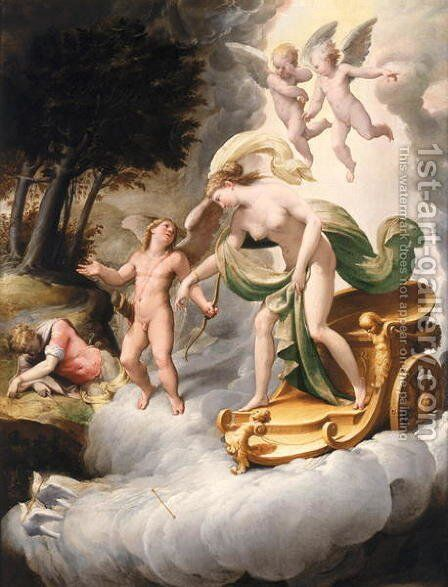 Venus Led by Cupid to Dead Adonis by Jacopo Bertoia - Reproduction Oil Painting