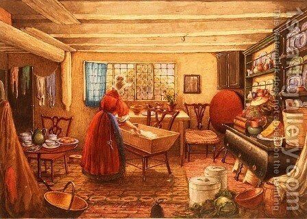 A Farm Kitchen at Clifton by Mary Ellen Best - Reproduction Oil Painting