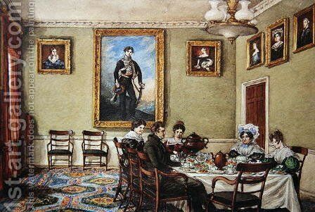 Dining room at Langton Hall, family at breakfast, c.1832-33 by Mary Ellen Best - Reproduction Oil Painting
